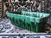 MCM UPCO Green Drip Glaze Pottery Bamboo Reed Planter Weed Pot Flower Vase VTG