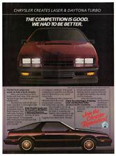 1984 CHRYSLER Laser and Daytona Turbo Vintage Original Print AD English variant