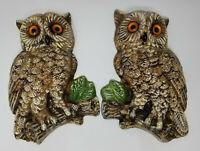 Vintage Set of 2 Chalkware Glass Orange Eye Brown Owls Perched on Branch