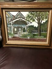 H. Hargrove painting pictuire framed art Seriograph victorian house gazebo sign