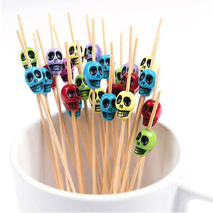 50Pcs Skull Pick Toothpicks Fruit Cupcakes Cocktail Sandwich Food Party Decors
