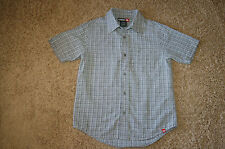 EUC Boys Tony Hawk Gray Plaid Button Down Dress Short Sleeve Size S 8 Nice LQQK!
