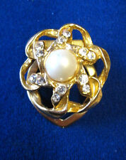 Vintage Scarf Clasp Costume Jewellery Gold Colour Artificial Diamonds & Pearl