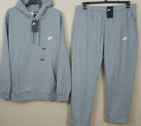 NIKE FLEECE SWEATSUIT HOODIE + PANTS SUIT HEATHER GREY WHITE RARE NEW (SIZE 4XL)