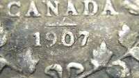 1907 Near Date Canada Five 5 Cent Small Silver Circulated Edward VII Coin J592