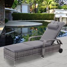 Adjustable Cushioned Rattan Lounge Chair Sofa Chaise Bed Patio Outdoor Pool Side