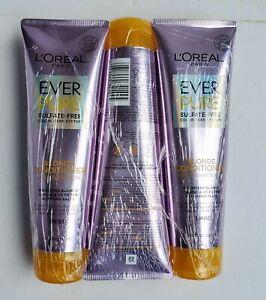 3 L'Oréal Paris Everpure Blonde Sulfate Free Conditioner Iris, 8.5 Fl. Oz Each.