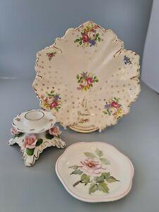 Rose Pottery Candlestick Holder,pin tray,plate cottagecore joblot see descriptio