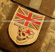 NATO ISAF BRITISH SAS CAMP BASTION burdock PATCH: UK FLAG SKULL burdock PATCH