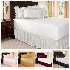 Wrap Around Elastic Bedding Dressing Bed Valances  Skirt 15inch Drop
