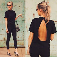 Women's Black Backless Loose Chiffon Top Short Sleeve Casual Blouse Sexy T-Shirt