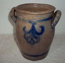 1 Liter Steingut Steintopf-Steinzeug-Henkeltopf Blau-Grau-Vorratstopf