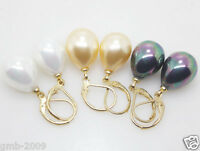 Wholesale Lots 3 Pairs 12x16mm White Gold Black Shell Pearl Beads Earrings