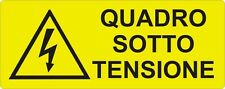 """2 TARGHETTE ADESIVE ISO 7010 """"QUADRO SOTTO TENSIONE"""" SEGNALE PERICOLO ELETTRICO"""