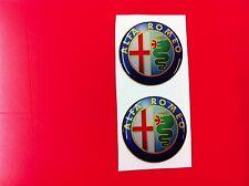 2 Adesivi Resinato Sticker 3D ALFA ROMEO 30 mm new