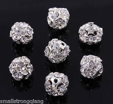 50 pcs Silver Plated Rhinestone Crystal Pave Spacer Beads 8mm