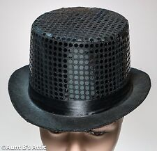Top Hat Black Felt Fancy Costume Hat Covered With Sequin Fabric One Size
