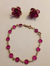 Swarovski Fuschia Bezel Set Earrings & Bracelet Signed - LOVELY!
