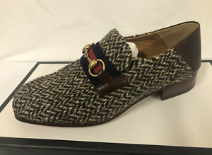 New In Box Gucci Wool Tweed GG Web Striped Horsebit Loafers 8.5G/9.5US $980.00