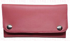 leather tobacco pouch soft good quality zipped wallet pink colours