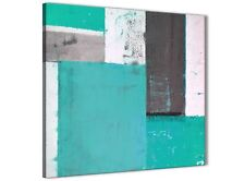 Turquoise Grey Abstract Painting Canvas Wall Art Modern 64cm Square - 1s345m