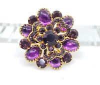 Delicate Vintage Flower Brooch Pin w Purple Cabochons & Chaton Rhinestones