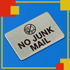 1 x NO JUNK MAIL  mailbox SIGN Stainless Steel , mail box , Self Adhesive