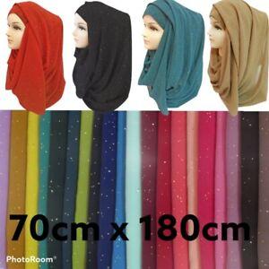 Premium Glitter Sparkles Shiny Soft Women Muslin Hijab Bubble Chiffon Shawl Wrap