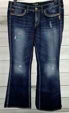 Silver Jeans Frances Women's Bootcut Curvy Fit Distressed Sz 18 Medium EUC B0414