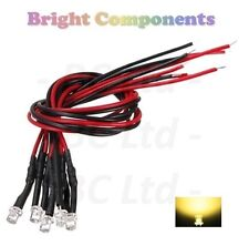 5 x Pre-Wired Warm White LED 3mm Flat Top : 9V ~ 12V : 1st CLASS POST