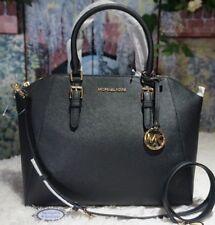 Nwt Michael Kors Ciara Large Top Zip Satchel Handbag In Black Leather 398