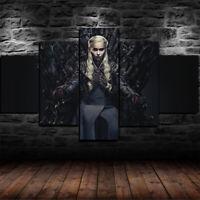 Framed Game of Thrones Daenerys Targaryen 5 Piece Canvas Print Wall Art Decor