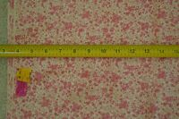 "By-the-Half-Yard, 36"" Vintage 1940's-60s Pink Calico on Cream Cotton/Rayon M5885"