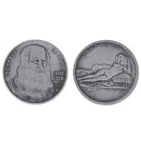 1 Pc Da Vinci Pièce commémorative antique imitation cuivre plaqué argent