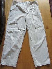 TALBOTS, WOMEN'S Khaki Cotton Bl Flat Front Career Pants, Size 14