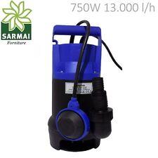 Pompa Sommersa HP 1,0 Elettropompa corpo in PVC 750W per acque sporche 8m
