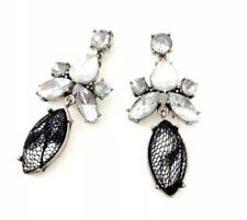 Banana Republic Womens Black Lace And Crystal Drop Statement Earrings NWT