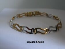 9ct Yellow and White Gold Bracelet - Fully Hallmarked