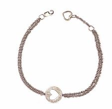 "new 925 sterling silver heart diamond .10ct SI2 H chain bracelet 4.3g 7"" 7 1/2"""