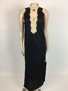 Vintage Montgomery Ward Nightgown S Floral Black Maxi Nylon Sleeveless Long OO17