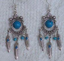 Tibetan Silver Faux Turquoise & Feather Drop Dangle Earrings