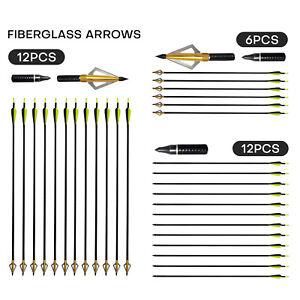 "Archery 32"" Fiberglass Arrows SP500 for Compound & Recurve Bow Hunting Broadhead"
