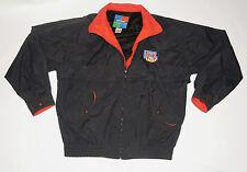 Men'S Vintage 1990s 'Nfl On Tnt' Lightweight Black Nylon Jacket! Zipper Front! L