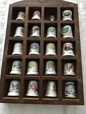 COLLECTABLE THIMBLE JOB LOT AND DISPLAY CASE Used Good CONDITION
