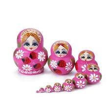10pcs Strawberry Flower Girl Nesting Dolls Matryoshka Russian Doll Set Toys