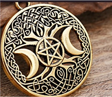 Triple Moon Goddess Pentagram Pendant Necklace - UK Stock - FREE P&P