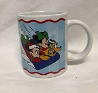 Disney Hang on Pluto Mickey & Minnie Mouse On Snow Sled Ceramic Tea Coffee Mug