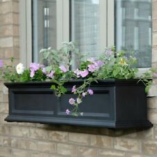 Window Box 11 in. x 48 in. Plastic Self-Watering in Black with Drainage Holes