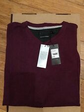 Mens New Jeff Banks Purple X Large V Neck Cotton-cashmere jumper RRP £40