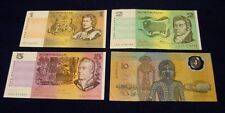 Australian paper $1, $2 and $5 notes + 1988 Aboriginal $10 note, EF.